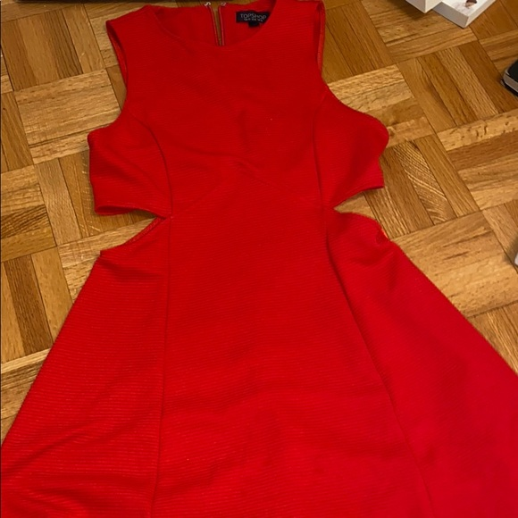 Red mini flared dress